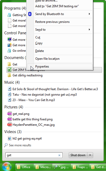 Windows 7 Start Menu view file properties