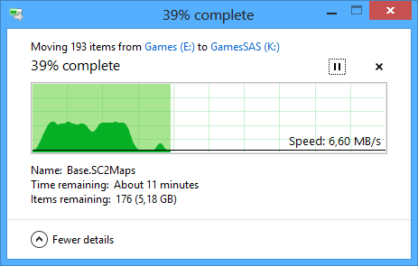 Seagate 600GB SAS slow file move Windows 8